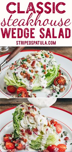 This Classic Wedge Salad with crisp iceberg lettuce creamy blue cheese dressing and crumbled bacon is a steakhouse recipe that s easy to make at home It s great for lunch or as a starter to a juicy steak dinner via stripedspatula Wedge Salad Recipes, Salad Recipes For Dinner, Lettuce Salad Recipes, Gourmet Recipes, Cooking Recipes, Healthy Recipes, Ensalada Thai, Blue Cheese Salad, Blue Cheese Dressing