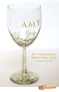 DIY Glitter Wine Glass {Easy Craft Tutorial} | Living Locurto - Free Party Printables, Crafts & Recipes