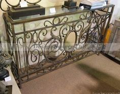 Ornate VICTORIAN Mirrored Scroll Console Table Wrought Iron Sofa Hall Entry  Luxe