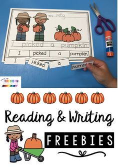 PUMPKIN FREEBIES - Reading and Writing - Pumpkin Life Cycle Picture Cards - slideshow - printables - science reading and math activities for kindergarten and first grade FREE October resources - free picture cards for pumpkins #kindergarten #pumpkinunit #firstgrade