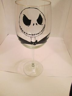 Jack Skellington wine glass by NerdyChan on Etsy