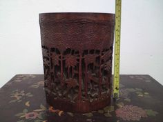 19thC Chinese Qing Dynasty carved   Seven Sages of the Bamboo Grove   brush pot