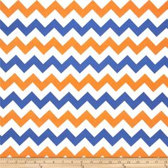 Riley Blake Wide Cut Chevron Medium Orange/Blue from @fabricdotcom  By RBD Designers for Riley Blake Designs, this cotton print fabric is perfect for quilting, apparel, crafts, and home décor accents. Colors include orange, white, and blue.