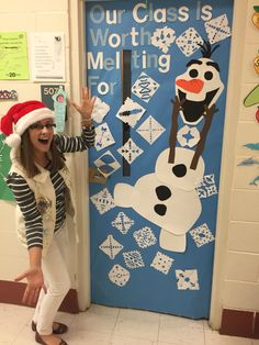 So I like Christmas and wintertime a little bit... Student teachers have more time to decorate doors. For real. #classroomdoor #olaf #ChristmasDoor