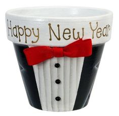 Decorated Terra Cotta Planter - Hostess gift, party favor or to hold resolutions from guests at your party.