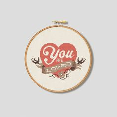 You are Loved (Vintage Colours) - Cross Stitch Pattern (Digital Format - PDF)