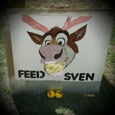 Feed Sven..... Frozen theme party game. Birthday party game. Wish I could have found carrot toys to use.