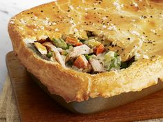 Light Chicken Potpie from FoodNetwork.com - Warm and comforting, this easy chicken pot pie boasts a flaky crust and lighter-than-usual filling made with Greek yogurt instead of cream.