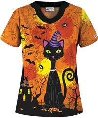 UA Bewitching Black Cat Orange Print Scrub Top Someone buy me this in a size medium please and thank you!