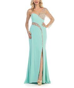 Look what I found on #zulily! Mint Rhinestone-Contrast Asymmetrical Gown & Shawl #zulilyfinds