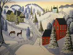 Winter landscape folk art  - up for bids on eBay - ends 1/19/2013 - Seller: folkartmama