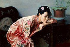陈逸鸣油画作品:仕女系列-2 - 春意  1999年作 作品尺寸:96.5*127cm