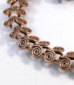50s handmade swirled copper wire link choker necklace