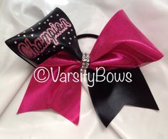 Champion Bing Glitter Pink Cheer Bow With Free Practice Bow on Etsy, $12.00