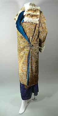 """1925 circa Printed/Woven Tapestry Evening Coat with Chinchilla Trim. Origin: Likely German. Materials: chinchilla fur, intricately printed woven silk shot through with gold lame threads, silk velvet, rhinestones, Bust: 38"""" Waist: 38"""" Hips: 38"""" Length: 44"""" Shoulder-to-Shoulder: 15"""" Sleeve Length: 20"""""""