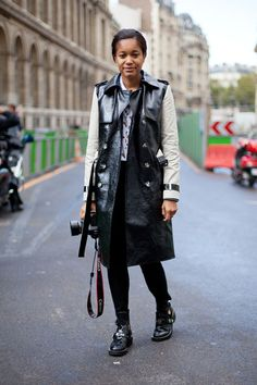 STREET STYLE SPRING 2013: PARIS FASHION WEEK - Tamu McPherson wears a leather trench well with punk-inspired shoes. stylish photographer