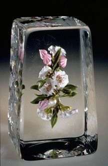 Mounain laurel paperweight by Paul J. Stankard. #glass