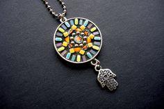 Southwest Boho Style Handmade Mosaic Pendant