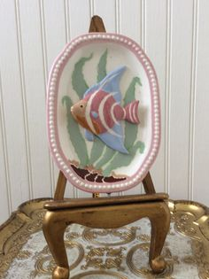 Vintage Ceramic Fish Wall Plaque Pink Coastal by YellowHouseDecor