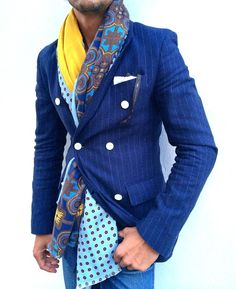 Cobalt Jacket with a scarf. I'm in to it.