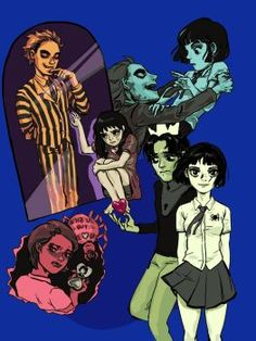 Beetlejuice, Lydia, Vince and Claire by alganiq on DeviantArt Beetlejuice Cartoon, Lydia Beetlejuice, Cartoon Fan, Cartoon Shows, Tim Burton Characters, Facebook Art, Love Film, Funny Comics, Horror Movies