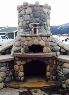 """Show Me The Pizza!  The Maguire 28"""" Cupola dome-shaped wood-fired outdoor pizza oven is made INSIDE a concrete cistern. To see more pictures of this oven (and many more ovens), please visit - BrickWoodOvens.com"""