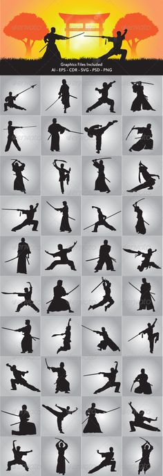 Wushu and Samurai Silhouette  #GraphicRiver         in this files include ai and eps version. you can open it with adobe illustrator cs and other vector supporting applications. i hope you like my design, thanks     Created: 21September12 ]
