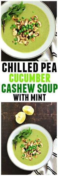 An awesome vegan warm weather seasonal soup recipe! Chilled pea cucumber cashew soup with mint is refreshing, creamy, and velvety smooth. Vegan, vegetarian, gluten free, low carb, clean eating, paleo.