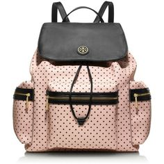 Tory Burch Kerrington Backpack ($395) ❤ liked on Polyvore featuring bags, backpacks, accessories, bolsas, purses, pink drawstring bags, tory burch bags, pink backpack, travel backpack and travel bag