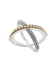 LAGOS Enso  Gold Beaded X Ring
