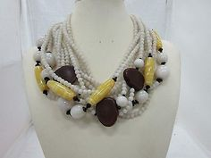 Angela Caputi Multi Strand Multi-Color Resin Statement Necklace Made in Italy