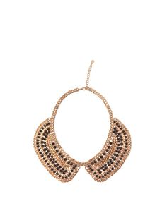 WOMAN'S GOLDEN MESH BIB NECKLACE WITH BLACK STONES - Accessories - Woman - New collection - ZARA United States