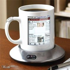 wicked!!! a computer coffee mug. not convenient but cool...might burn yourself while checking the web! lol