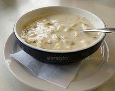 A bowl of hot, homemade, cream of potato with bacon soup.