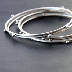 Compass Bangles - handmade with recycled sterling silver