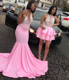 Looking for Prom Dresses in Stretch Satin, Mermaid style, and Gorgeous work? Babyonlinewholesale has all covered on this elegant Pink V-neck Halter Sleeveless Appliques Long Mermaid Prom Dresses. Black Girl Prom Dresses, Senior Prom Dresses, V Neck Prom Dresses, Cute Prom Dresses, Prom Outfits, Mermaid Prom Dresses, Evening Dresses, Girls Dresses, Dress Prom