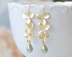 Gold Orchid Flower Sage Green Pearl Earrings Olive by LeChaim