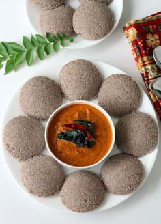 Kickstart your day with a healthy Indian breakfast dish, Ragi Idli with Tomato pachadi. Finger millet steamed cakes!