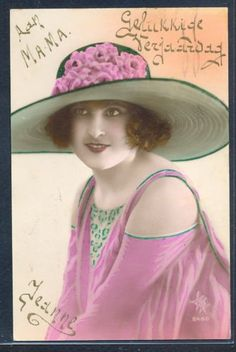 PL104-ART-DECO-HIGH-FASHION-FLAPPER-LADY-Large-HAT-KITSCH-Tinted-PHOTO-pc