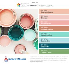 found these colors with ColorSnap® Visualizer for iPhone by Sherwin-Williams: Cosmetic Peach (SW Oleander (SW Youthful Coral (SW Subdued Sienna (SW Tantalizing Teal (SW Quench Blue (SW Oceanside (SW Organic Green (SW Interior Paint Colors, Paint Colors For Home, House Colors, Peach Paint Colors, Pastel Colour Palette, Peach Rooms, Pintura Exterior, Paint Color Schemes, Sherwin William Paint