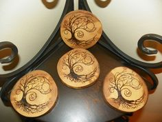 Oak wooden coasters with ornate freehand wood by Willowwood1887, $35.00