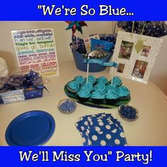 For the Love of Food: We'll Miss You! Blue Themed Farewell Party for Molly Farewell Party Decorations, Farewell Parties, Farewell Gifts, Farewell Gift For Coworker, Goodbye Party, Goodbye Gifts, Retirement Parties, Retirement Gifts, Retirement Ideas
