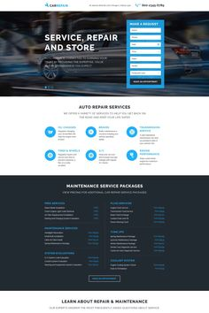 Before you purchase it, check out this professional Car Repair Responsive Landing Page Template ( - get to know technical details and requirements, read testimonials, ask a question. Landing Page Examples, Best Landing Pages, Web Design, Page Design, Flat Design, The New School, New School Year, Template Web, Templates