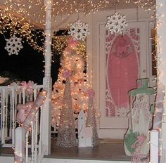 Pink porch, I was going to paint my door red, but I think after seeing this...I must paint it pink.