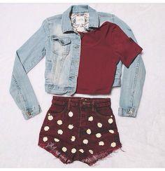Marron and blue jean jacket Daisy Shorts, Cheap Clothes, Cheap Outfits, Blue Jean Jacket, What To Wear, Burgundy, Mini Skirts, Denim, Womens Fashion