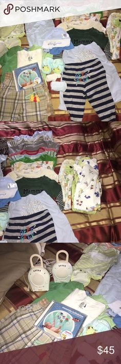 Baby necessary items--bundle deal Bundle includes 3 onesie--NB 3 onesies --3months 9 onesie -- 3-6/9 months 2 shorts 2 pants 1 baby lullabies CD 2 monitors  2 socks 1 bootie 1 car seat fitted cover blanket with zipper 2 t-shirts 4 PJs 3 hats All are in good condition, gently used Other