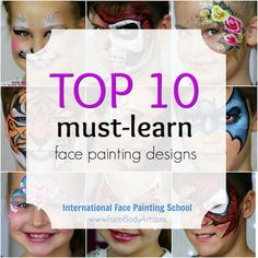 Here is a list of Top 10 most popular face painting designs that'll help you create a display board, practice with purpose and simplify your face painting life.