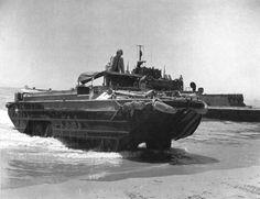 US Army DUKW coming ashore at Gela, Sicily, Italy, 1943