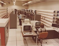 Tape library for a IBM System/360 mainframe. I wonder how many kilobytes (or gigabytes?) of data is pictured in this image.