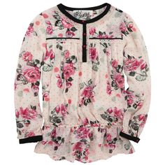 Ivory flower-printed blouse made of light viscose voile. Crew neck and long sleeves. Button strap on the front. Lace trims. Gathered waistband. - $96,62